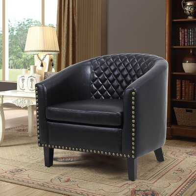 PU Leather Accent Barrel Chair Living Room Chair With Nailheads And Solid Wood Legs, Easy Assembly - Wayfair