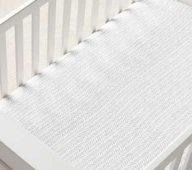 Muslin Broken Arrow Fitted Crib Sheet, Crib Fitted, Grey - Pottery Barn Kids