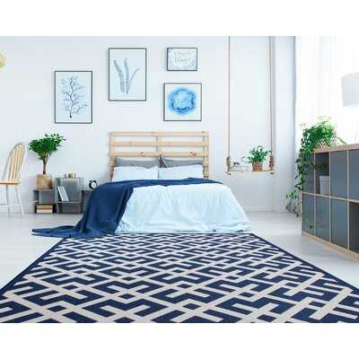Rivas Geometric Garden Blue/White Indoor/Outdoor Area Rug - Wayfair