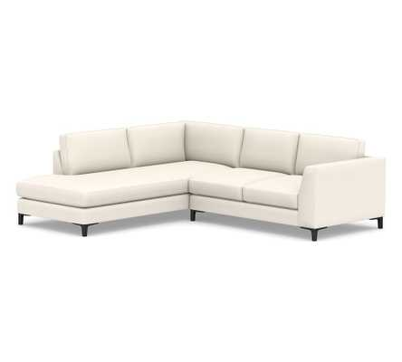 Ansel Upholstered Right Sofa Return Bumper Sectional, Polyester Wrapped Cushions, Performance Twill Warm White - Pottery Barn
