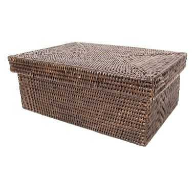 Summerville Handwoven Rattan Rectangular Storage Box With Lid, - Pottery Barn