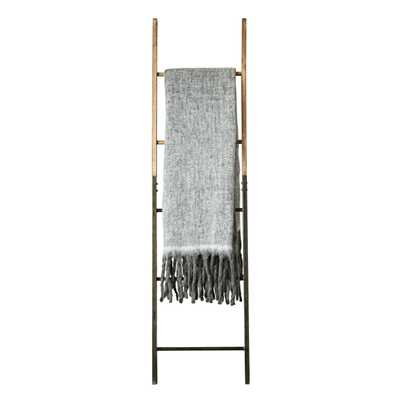 Grey Mohair & Acrylic Throw with Fringe - Nomad Home