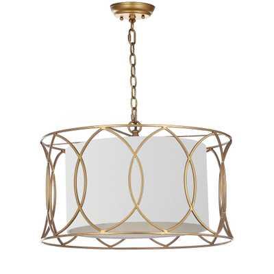 Safavieh Silas 1-Light Gold Adjustable Pendant - Home Depot