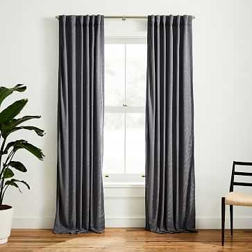 "Faux Silk Moire Curtain, Pewter, 48""x84"" - West Elm"