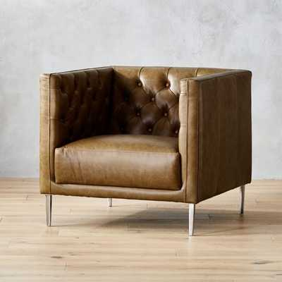 Savile Saddle Leather Tufted Chair - CB2
