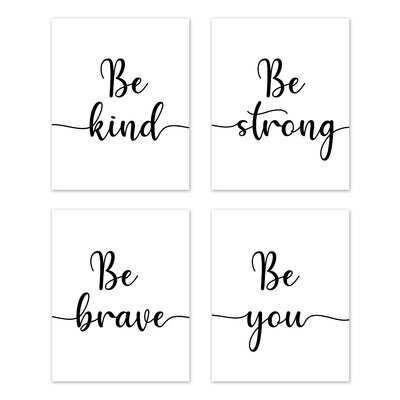 Inspirational Quote Be Kind Art Paper Print (Set Of 4) By Sweet Jojo Designs - Wayfair