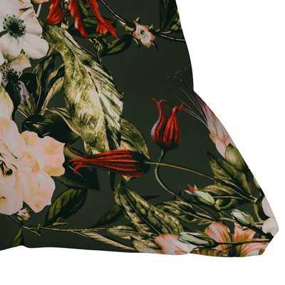 "Dark Wild Floral 03 by Marta Barragan Camarasa - Outdoor Throw Pillow 18"" x 18"" - Wander Print Co."