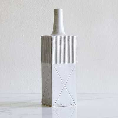 Textured Linework Vases, Tall Rectangle, White & Natural - West Elm