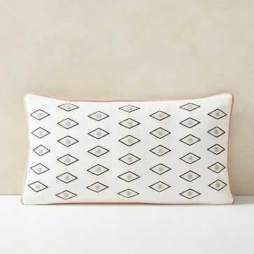 "Beaded Gaze Pillow Cover, 12""x21"", Stone White - West Elm"