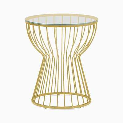 Pillar Glass/Green Gold Round Side Table - West Elm
