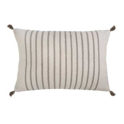 Pom Pom At Home Morrison Cotton Feathers Striped Lumbar Pillow Color: Ivory/Taupe - Perigold