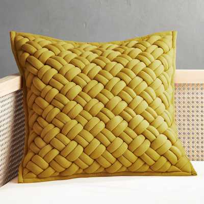 "20"" Jersey Interknit Mustard Pillow with Feather-Down Insert - CB2"