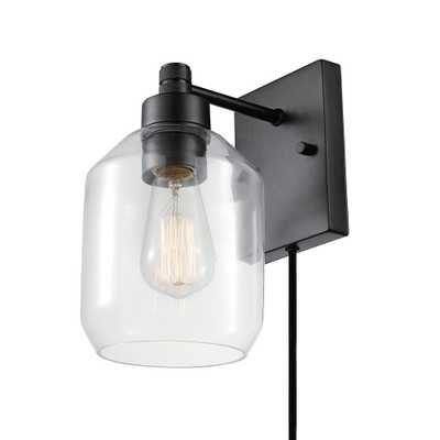 Globe Electric Middleton 1-Light Dark Bronze Plug-In or Hardwire Modern Wall Sconce - Home Depot