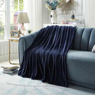 "INSPIRED HOME DECOR Marciela Navy Throw Super Soft 100% Polyester 60""x70"", Blue - Home Depot"