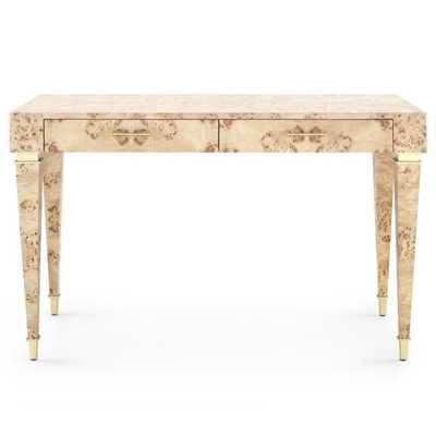 Hazel Mid Century Modern Beige Burl Wood Burl Brushed Brass Accent Office Desk - Kathy Kuo Home