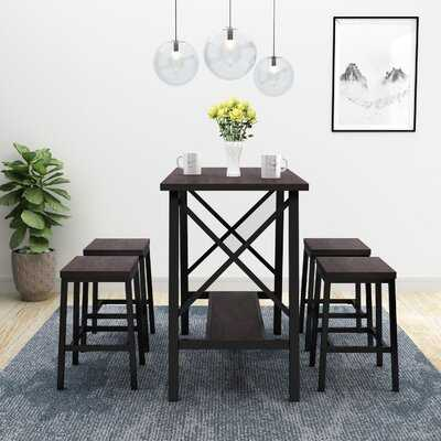 Rectangular Industrial 5-Piece Bar Table Set Bistro Style Counter Height Bar Table And 4 Bar Stools - Wayfair