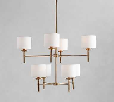 Stella Chandelier With Shades, Antique Brass - Pottery Barn