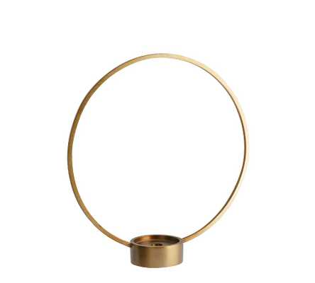 Kinsey Circular Candlestick, Brass, Small - Pottery Barn