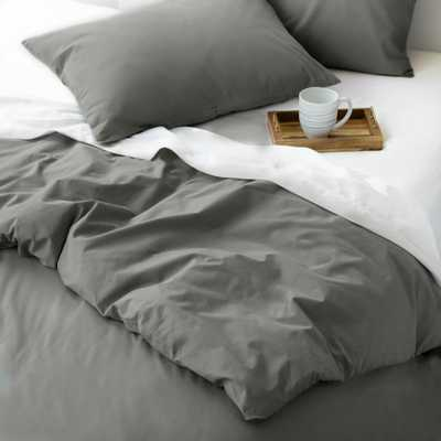 WELHOME The Cozy Cotton Pewter Full/Queen Duvet Set, Silver - Home Depot