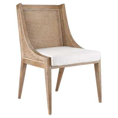 Ted Coastal Beach Brown Mahogany Wood Cane Dining Side Chair - Kathy Kuo Home