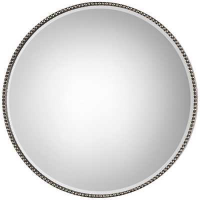 """Stefania Antiqued Silver Leaf 40"""" Round Oversized Mirror - Style # 87K89 - Lamps Plus"""