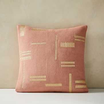 """Embroidered Metallic Blocks Pillow Cover, Set of 2, Pink Stone, 20""""x20"""" - West Elm"""
