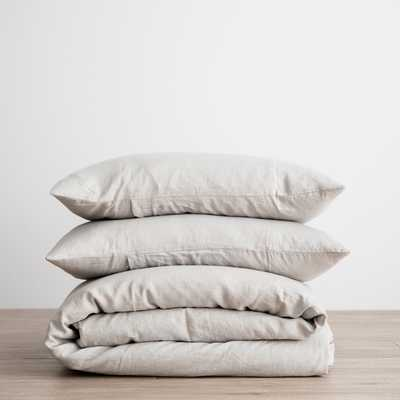 Cultiver Linen Bedding, Smoke Grey Duvet Set Queen - Lulu and Georgia