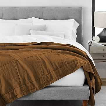 Belgian Linen Blanket, King, Dark Amber - West Elm