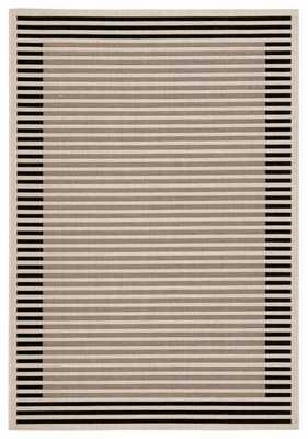 "Fathom Indoor/ Outdoor Stripe Ivory/ Black Area Rug (4'X5'7"") - Collective Weavers"