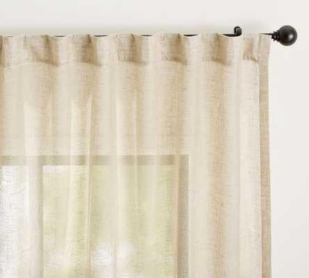 """Emery Rod Pocket Sheer Curtain, 50 x 84"""", Oatmeal - Pottery Barn"""