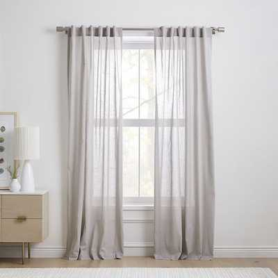 "Sheer Crosshatch Curtain, Stone Gray, 48""x84"", Set of 2 - West Elm"