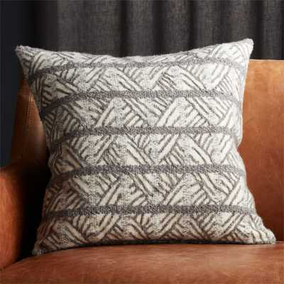 "20"" Tilda Dark Grey/White Chevron Pillow with Down-Alternative Insert - CB2"