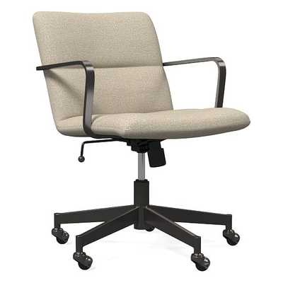 Cooper Mid-Century Office Chair, Antique Bronze, Chenille Tweed, Silver Gray - West Elm