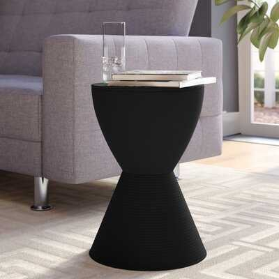 Osceola Tray Top Drum End Table with Storage, Black - Wayfair
