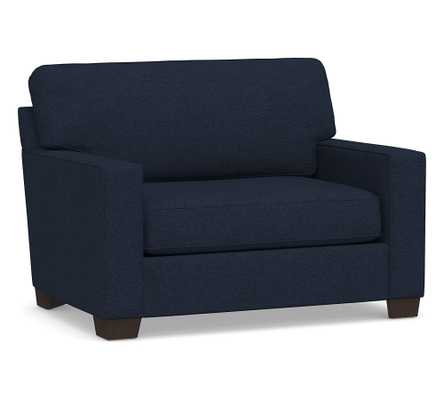 Buchanan Square Arm Upholstered Twin Sleeper Sofa, Polyester Wrapped Cushions, Performance Heathered Basketweave Navy - Pottery Barn