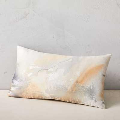 "Airy Brocade Pillow Cover, 12""x21"", Horseradish - West Elm"