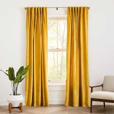 "Cotton Velvet Curtain, Set of 2, Dark Horseradish, 48""x84"" - West Elm"