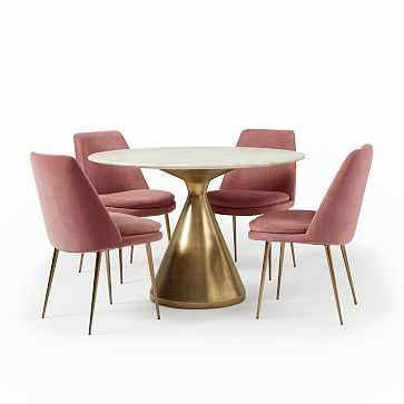 """Silhouette Pedestal Round Dining Table (44"""") + 4 Finley Chair Set (Grapefruit) - West Elm"""