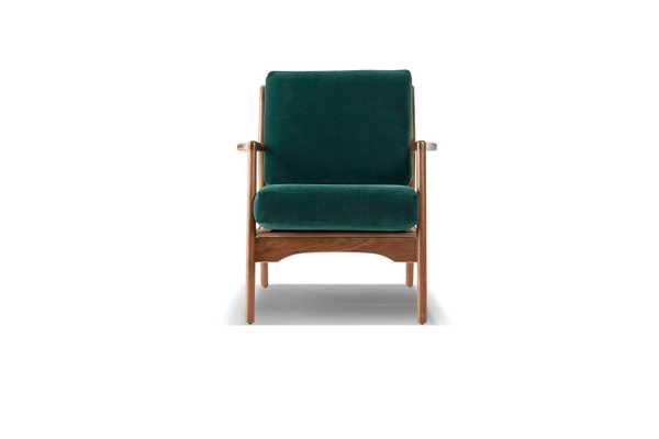 Green Collins Mid Century Modern Chair - Royale Evergreen - Walnut - Joybird