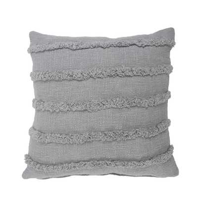 LR Home Striped Gray Over Tufted 20 in. x 20 in. Solid Throw Pillow - Home Depot