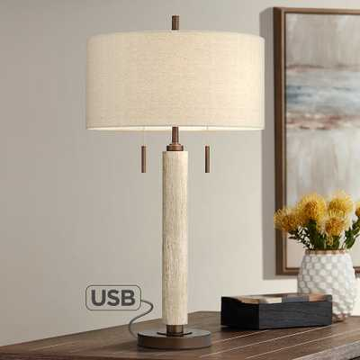 Hugo Wood Column USB Table Lamp with Table Top Dimmer - Style # 89N33 - Lamps Plus