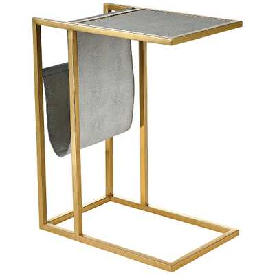 "Kingsroad 19""W Gold and Gray Accent Table w/ Magazine Holder - Style # 86A94 - Lamps Plus"