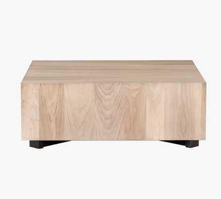 "Terri 40"" Cube Coffee Table, Gunmetal & Ashen Walnut - Pottery Barn"