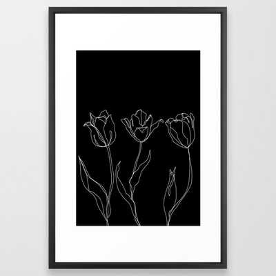 Floral Line Drawing - Three Tulips Black Framed Art Print by The Colour Study - Vector Black - LARGE (Gallery)-26x38 - Society6