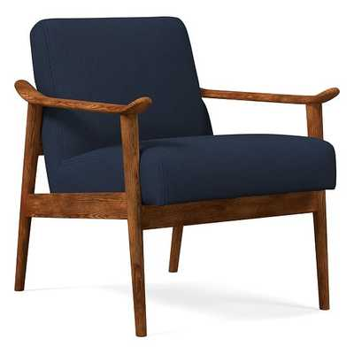 Midcentury Show Wood Chair, Poly, Twill, Regal Blue, Pecan - West Elm