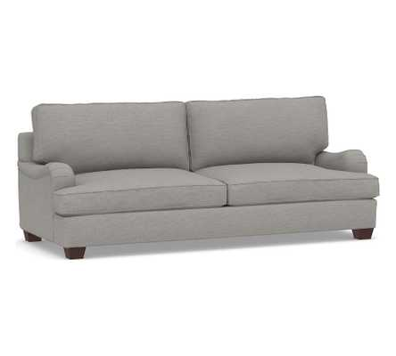 PB English Upholstered Grand Sofa, Polyester Wrapped Cushions, Performance Heathered Basketweave Platinum - Pottery Barn