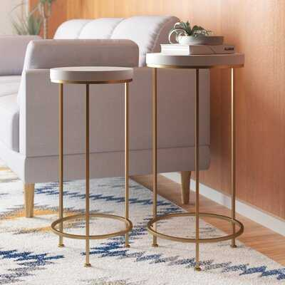 Shona Metal and Wood 2 Piece End Table Set - AllModern