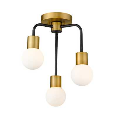 Filament Design 3-Light Matte Black and Foundry Brass Semi Flush Mount with Opal Glass Shade - Home Depot