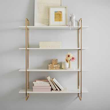 Metallic Trim Wall Bookcase, Gold/Simply White, 4-Shelf - Pottery Barn Teen