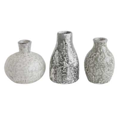 Distressed Grey Terracotta Vases (Set of 3 Sizes) - Nomad Home